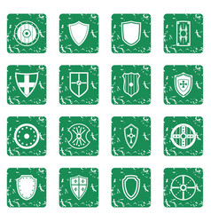 Shield frames icons set grunge vector