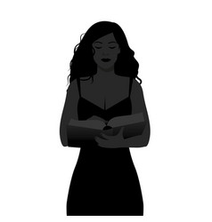 Silhouette of girl reading holding a book vector