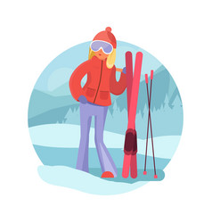 skier girl winter sports concept vector image