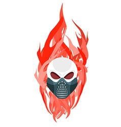 Skull protective mask against a backdrop of flames vector