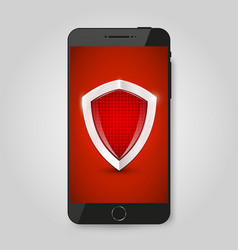 Smartphone protection smartphone with shield vector
