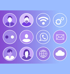 social network wifi icons vector image