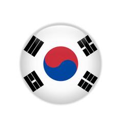 South korea flag on button vector