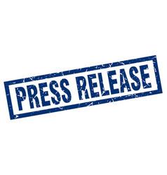 Square grunge blue press release stamp vector