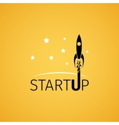 Startup icon with rocket flying in space vector