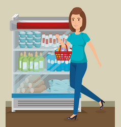 Supermarket shelvings with woman buying vector