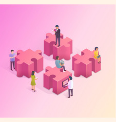 teamwork concept people are building a business vector image