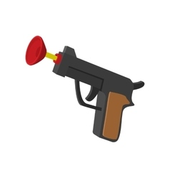 Toy gun with suction cup cartoon icon vector