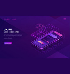 user experience isometric concept ux ui wireframe vector image