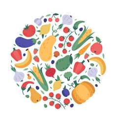vegetables and fruits pattern kitchen veggies vector image