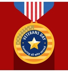 veterans day flat medals icons vector image