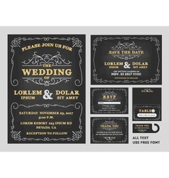 Vintage Chalkboard Wedding Invitations design sets vector image