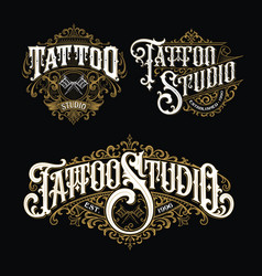 Vintage tattoo lettering logo set vector