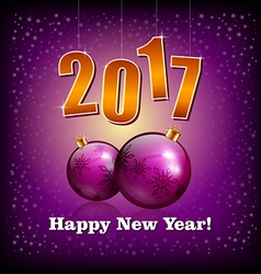 Violet baubles and 2017 New Year numbers vector image