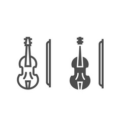violin line and glyph icon musical and instrument vector image