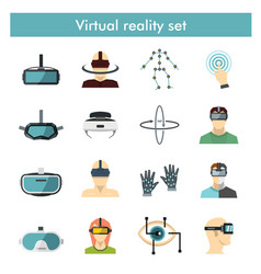 virtual reality icons set in flat style vector image