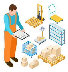 Warehouse equipment trolley parcels isometric vector