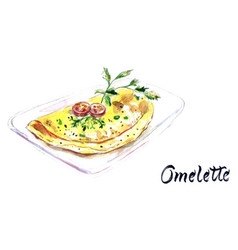 watercolor hand drawn omelette vector image