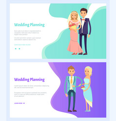 wedding planning bride and groom engagement vector image