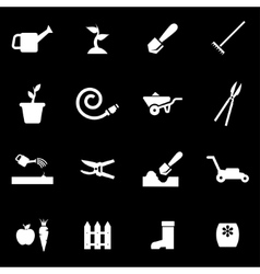 white gardening icon set vector image