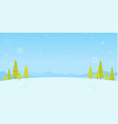 Winter forest landscape christmas background pine vector