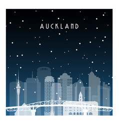 Winter night in auckland night city in flat style vector