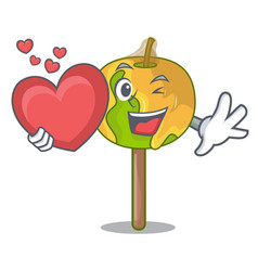 With heart candy apple mascot cartoon vector