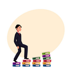 young businessman climbing piles of documents vector image