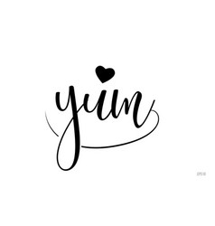 Yum typography text with love heart vector