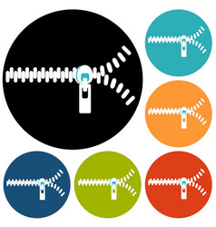 zippers icons vector image