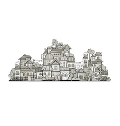 Cartoon grayscale construction town vector