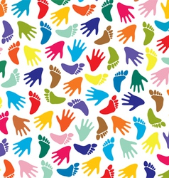 colorful feet and hands vector image vector image