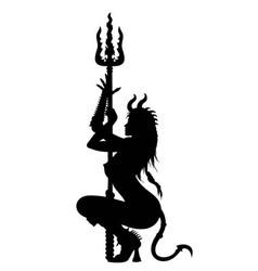 Devil woman striptease silhouette vector image
