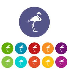 flamingo set icons vector image vector image