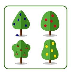Fruit tree icons set 3 vector image