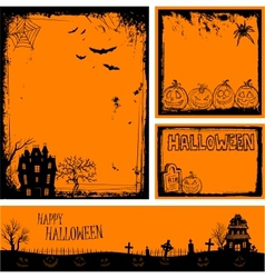 Multiple orange Halloween banners and backgrounds vector image