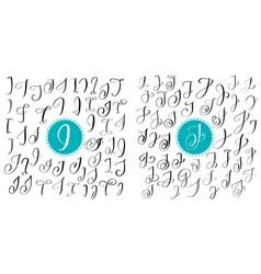 set letters i j hand drawn flourish vector image vector image