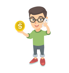 Boy businessman talking on phone and holding coin vector