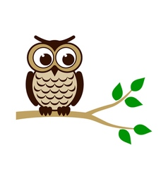 Funny owl sitting on branch vector image vector image