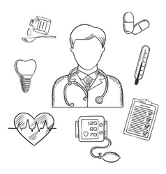 Hand drawn medical items and doctor vector image vector image