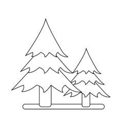 outline two pine tree forest camping icon vector image vector image