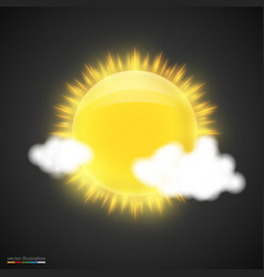 realistic sun with clouds on dark background vector image