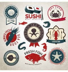 Seafood labels set vector image vector image