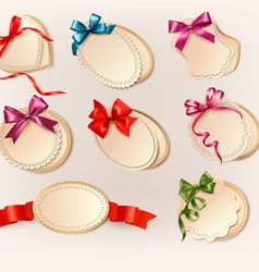 Set of beautiful retro labels with colorful gift vector