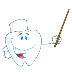 Smiling Dental Tooth Character Holding A Pointer vector image