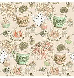 Vintage Tea Time Pattern vector image vector image
