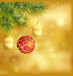 Golden Christmas background with baubles and fir vector image vector image