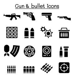 gun bullet icon set vector image