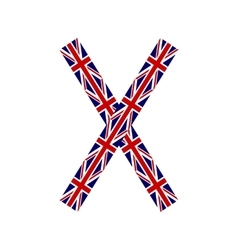 Letter X made from United Kingdom flags vector image