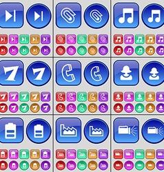 Media skip Clip Note Seven Receiver Avatar Battery vector image